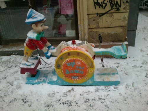 Pinocchio in the snow