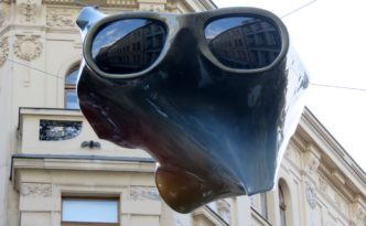 Flying object in Dlouha trida street, Prague